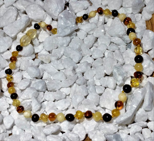 "Amber Teething Necklace 12"" - Ruby Dragon"