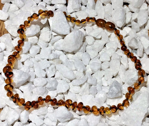 "Amber Teething Necklace 13.5"" - Ruby Dragon"