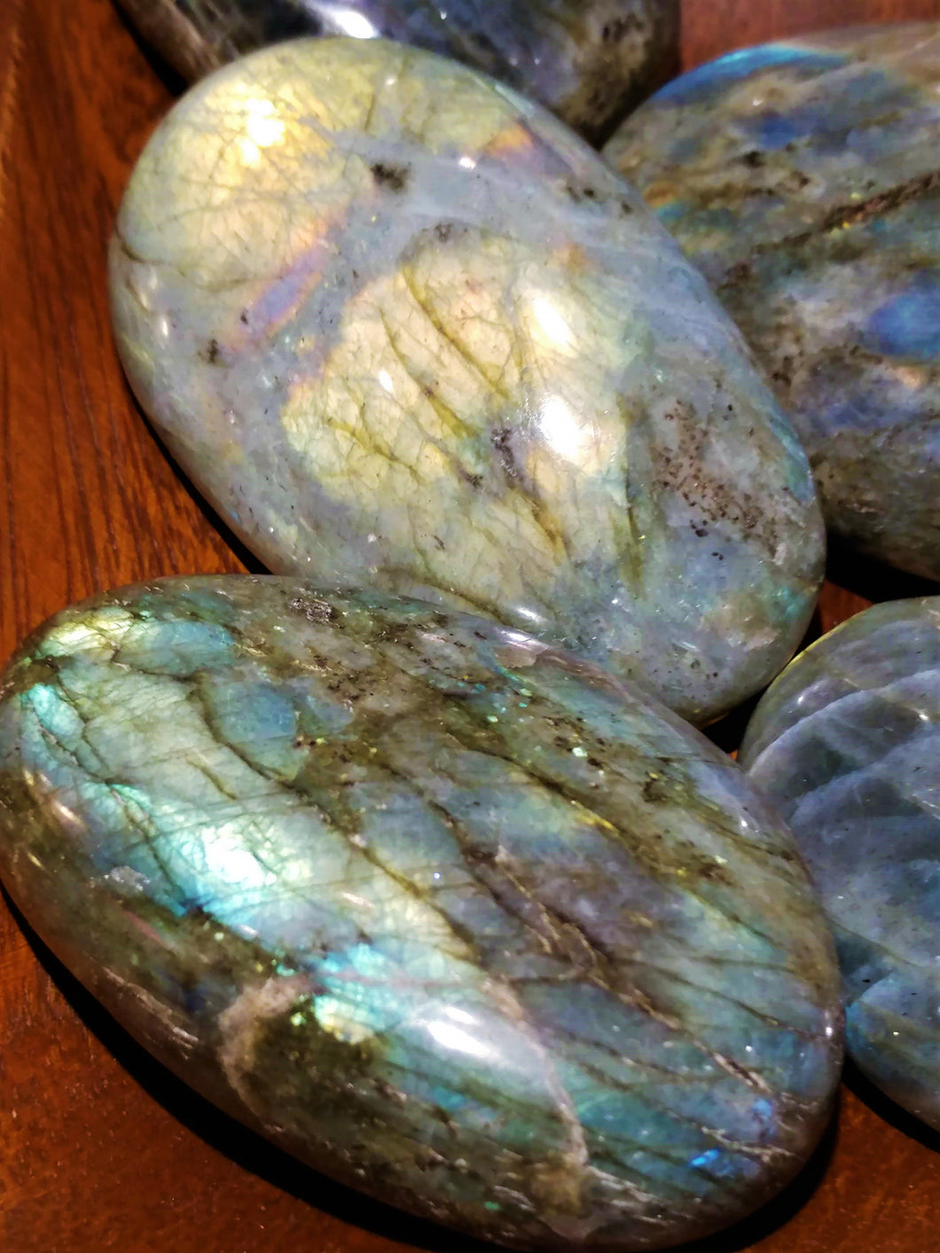 Labradorite Palm Stone - Ruby Dragon