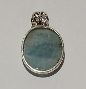 Aquamarine Sterling Silver Pendant - Ruby Dragon