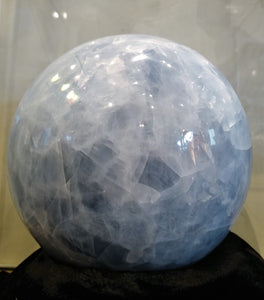 Blue Calcite Sphere - Ruby Dragon