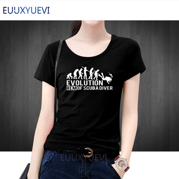 EVOLUTION OF SCUBA DIVER dive down flag Dive funny Black T-Shirt Women 2018 New Designs Summer Style T Shirt Top Tees