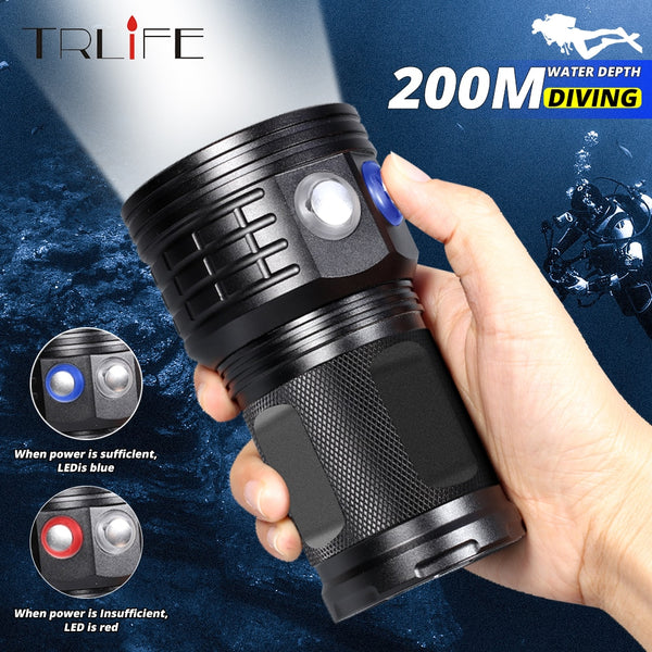 Ultra Bright Diving Flashlight LED Scuba Underwater 500M LED Dive Torch Light Waterproof Photography White Blue Red 18650 Lamp