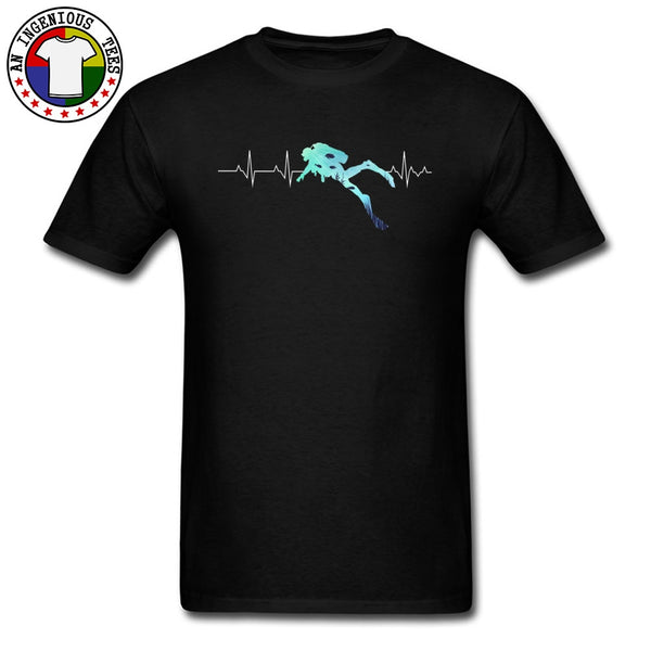 Sealife Heartbeat Scuba Dive Exercise Tshirt For Men Sea Ocean Oversized 100% Cotton Men Top T-shirts Father Day Best Gift