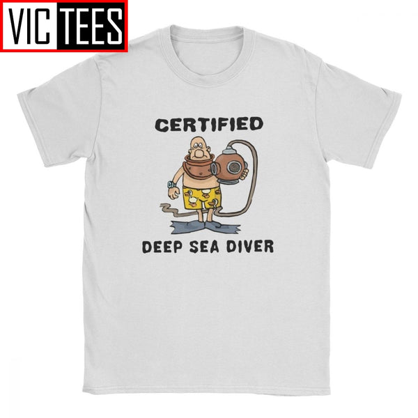 Funny Certified Deep Sea Diver T-Shirt Men Scuba Dive Snorkeling Sports Diving Pure Cotton Tshirt