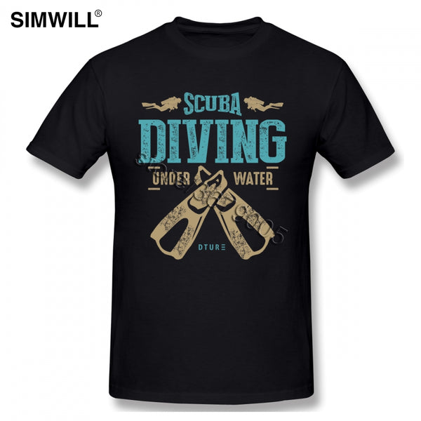 Vintage Men Scuba Diving T-Shirts Designer Pure Cotton Short Sleeve Tee Shirt Retro Diver T Shirt Crew Neck Clothing Gift Idea