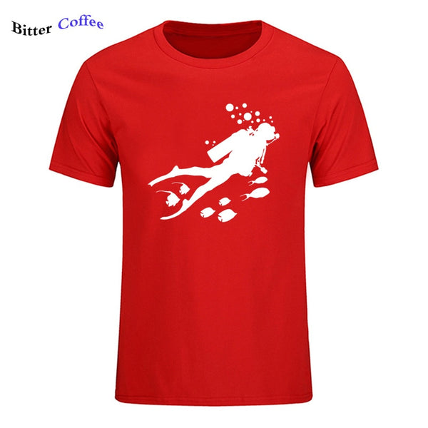 Summer New One Diving Man And Fish Men's t Shirt Pure casual Cotton  Short Sleeve t-shirts men short sleeve top tee