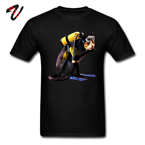 Scuba Diving Cat Pure Cotton Casual Funny Tops T Shirt High Quality Creative Tshirt For Men Black Popular New Tops Tees Cotton