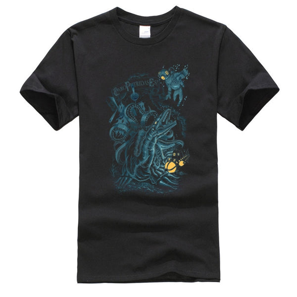 Subacvatic Scuba Diving Monsters Satanic Geek Tshirts All Saints' Day Pure Cotton Male T-Shirt Slim Fit T Shirt Hallowmas Gift