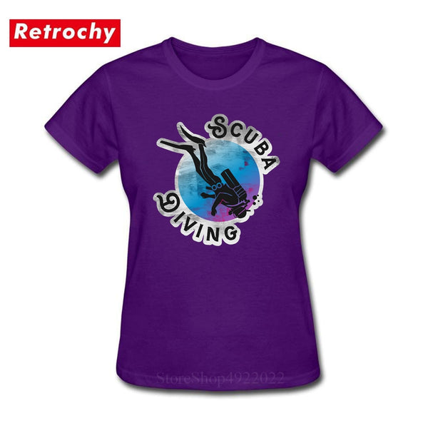 2019 Vintage Scuba Dive T Shirt Best Gift For Girl Diver T-Shirt Women Round Neck Soft Cotton Retro Diving Surfing Swimmer Shirt