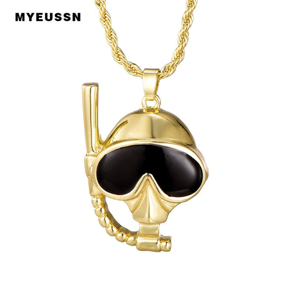 Scuba Diving Mask&Snorkel Skull Pendant With Long Chain Gold color Fashion Charm Necklace&Pendant For Men Trendy Jewelry Gift