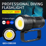 Waterproof Diving Flashlight Scuba Underwater Photography COB LED Torch Light for Outdoor Car Maintenance Ornaments