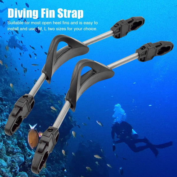 1pair Diving Fin Strap Swim Gear Spring Stainless Steel Scuba Snorkeling Heel Diving Fin Strap With Buckles