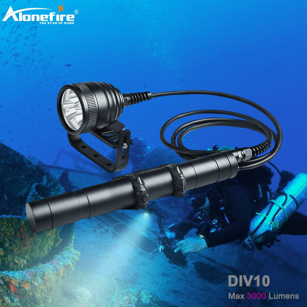 Alonefire DIV10 LED Diving Flashlight XM L2 Scuba Dive Torch 26650 200m Underwater Video Canister Dive Lamp light