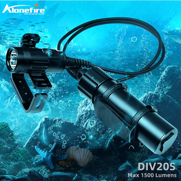 Alonefire DIV20S Diving Spotlight CREE XHP35 LED 1500LM underwater 150M waterproof Scuba Snorkeling Diving light battery pack