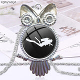 Scuba Diver For Lovers Best Friendship Vintage Jewelry Plated With Glass Cabochon Choker Long Pendant Owl Necklace