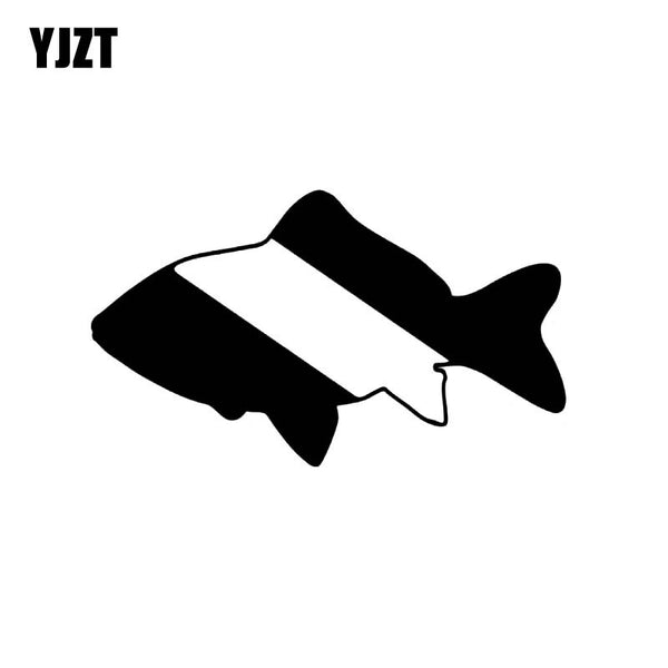 YJZT 14cm*8.1cm Cartoon Funny Scuba Diving FISH Vinyl Car Window Sticker Decals Black Silver C11-0120