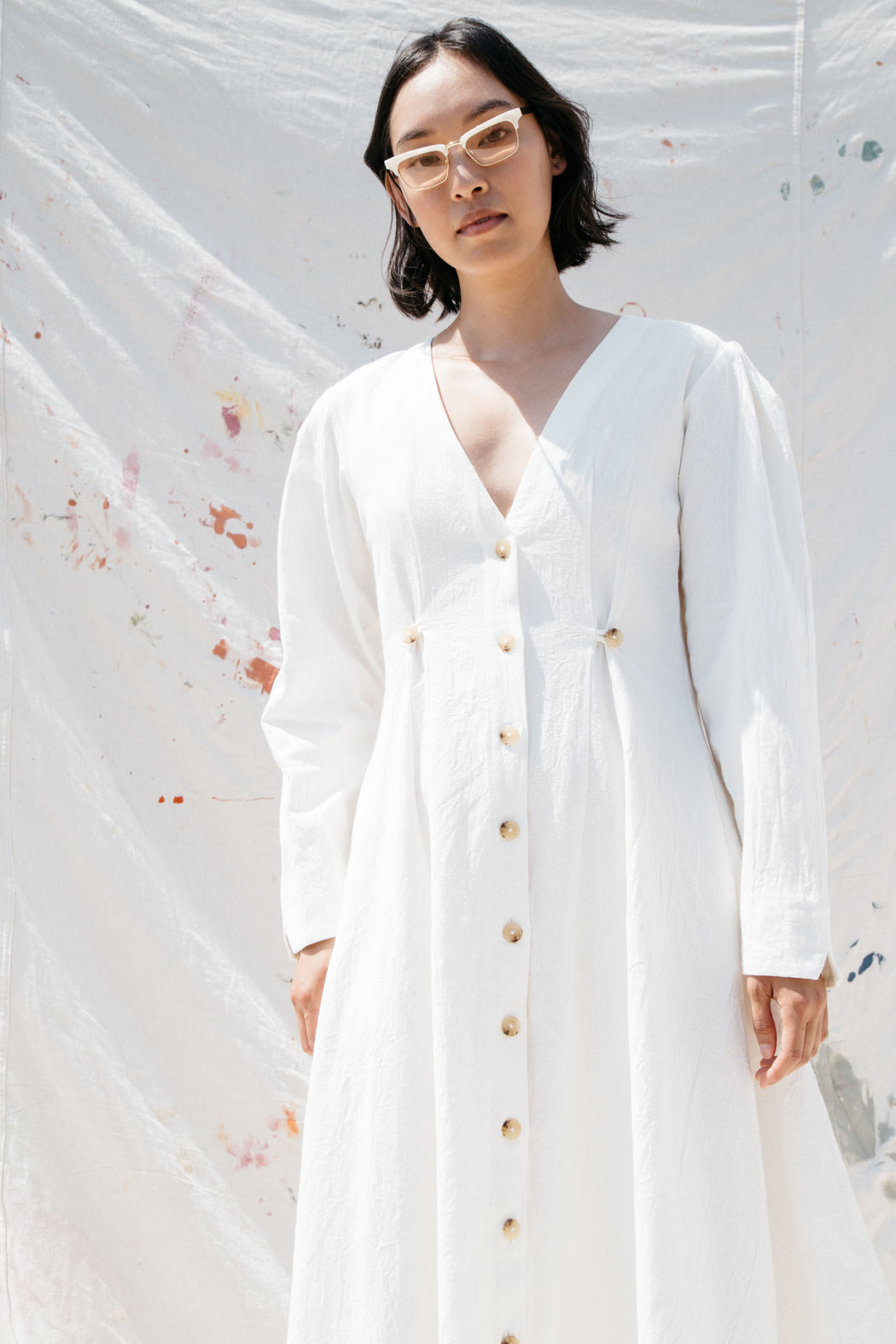 RICHTER DRESS - WHITE COTTON LINEN