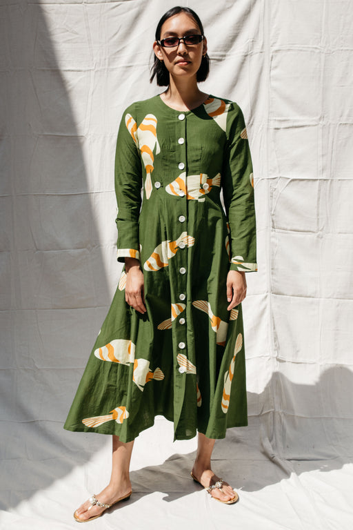 BARONESS FISH DRESS - GREEN