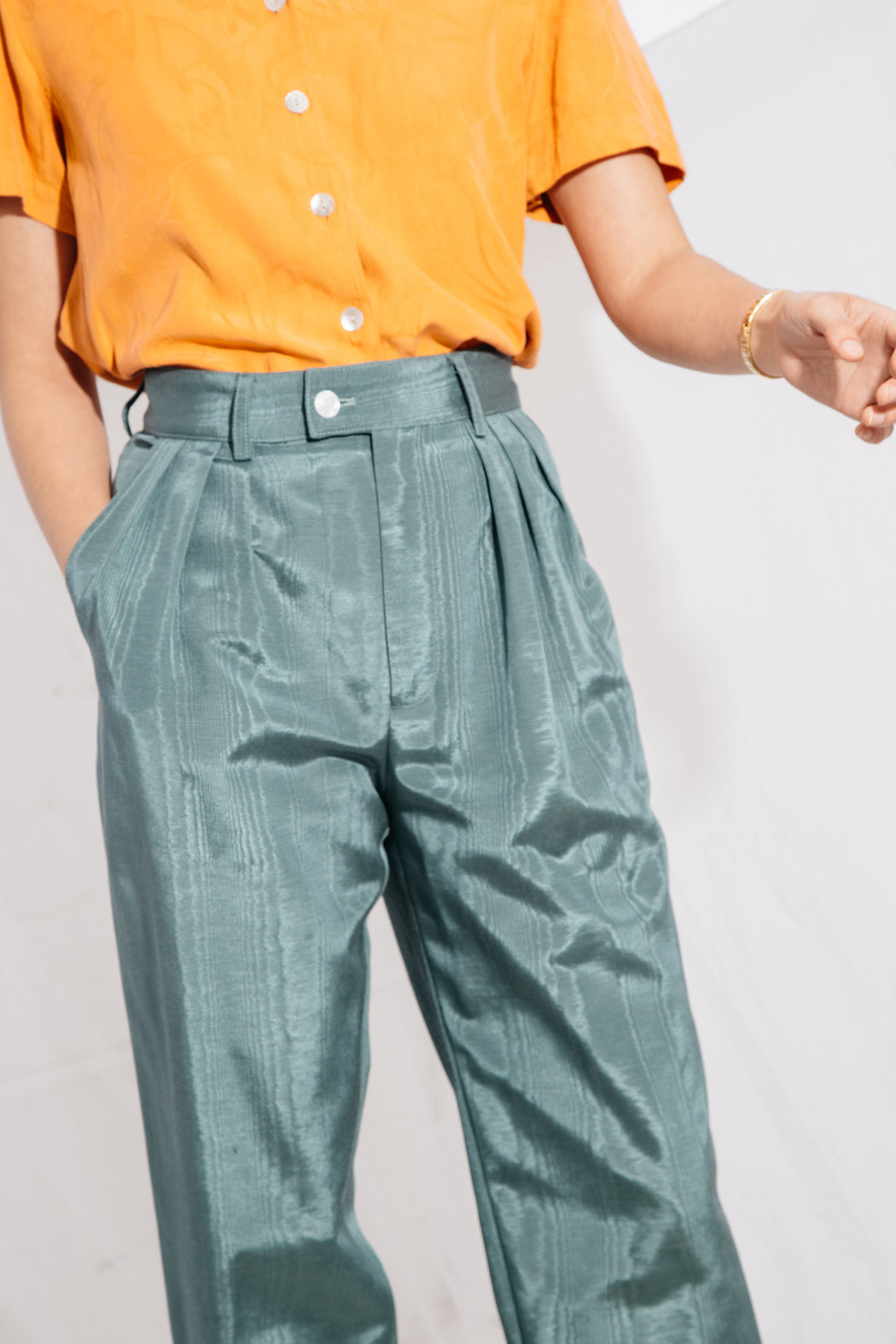 SOL PLEATED TROUSER - JUNIPER MOIRE