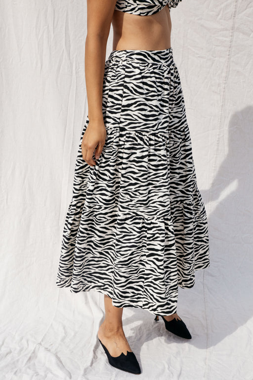 LOU SKIRT - WHITE ZEBRA