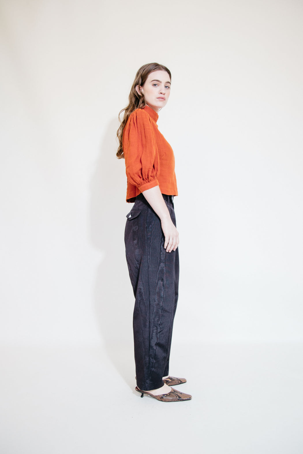 SOL PLEATED TROUSER - BLACK MOIRE