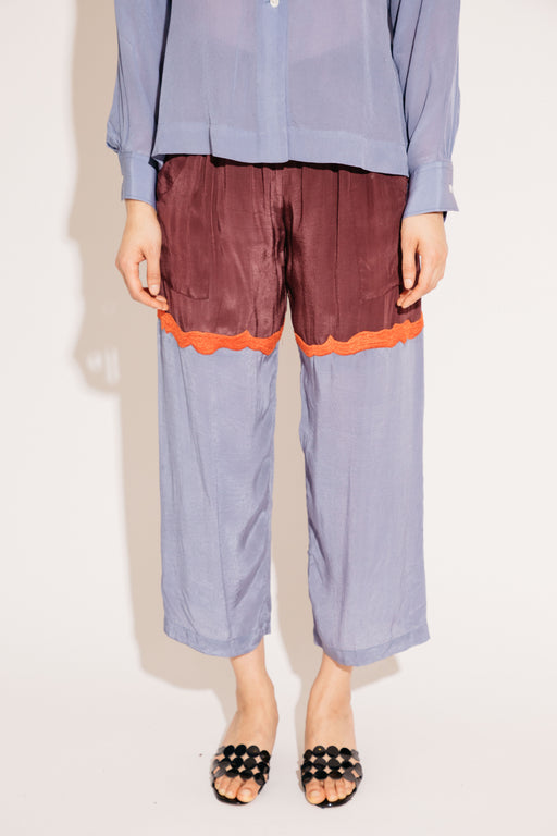 PATCH PANT, LAKE/BURGUNDY