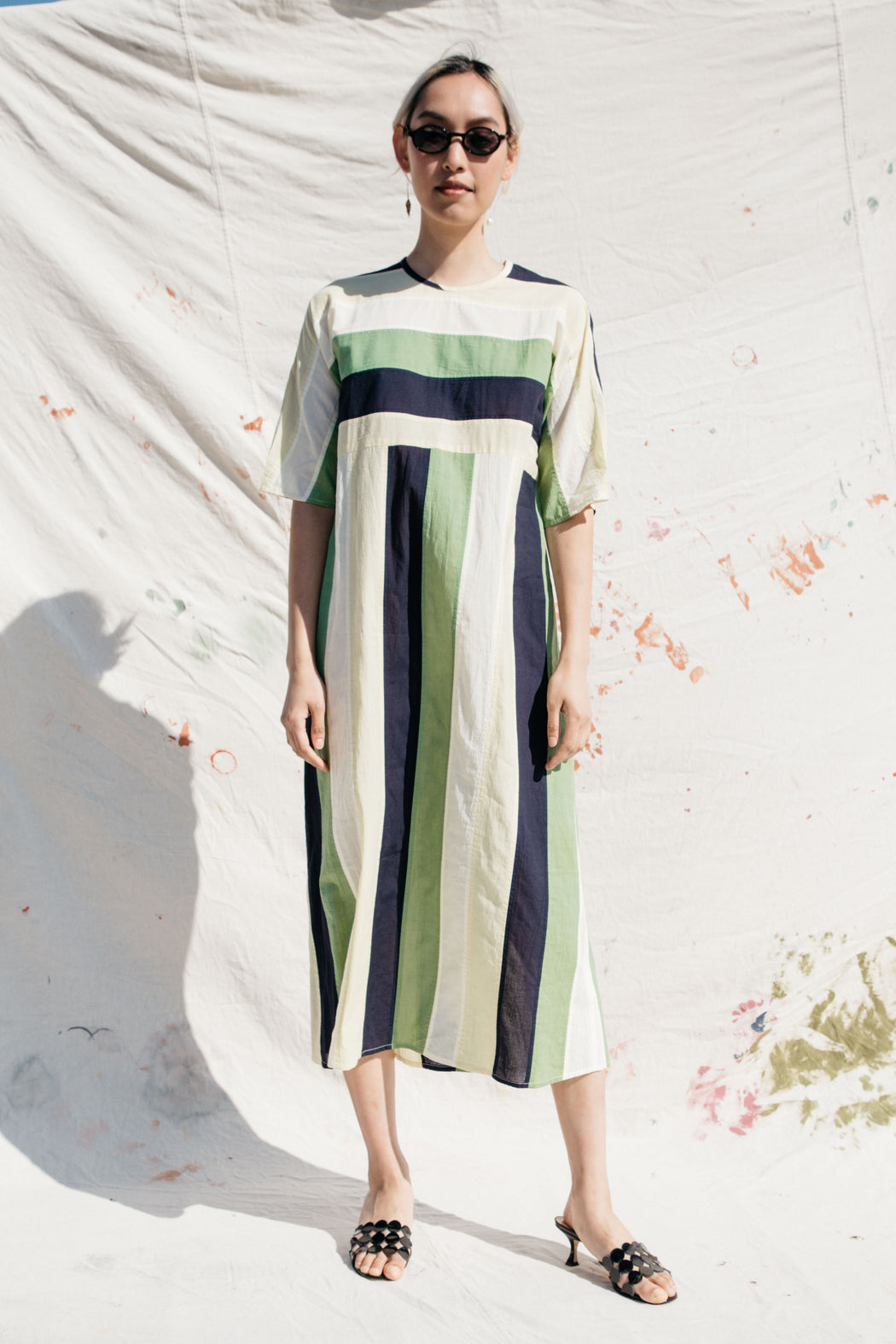 ARNO DRESS, GRASSHOPPER NAVY STRIPE