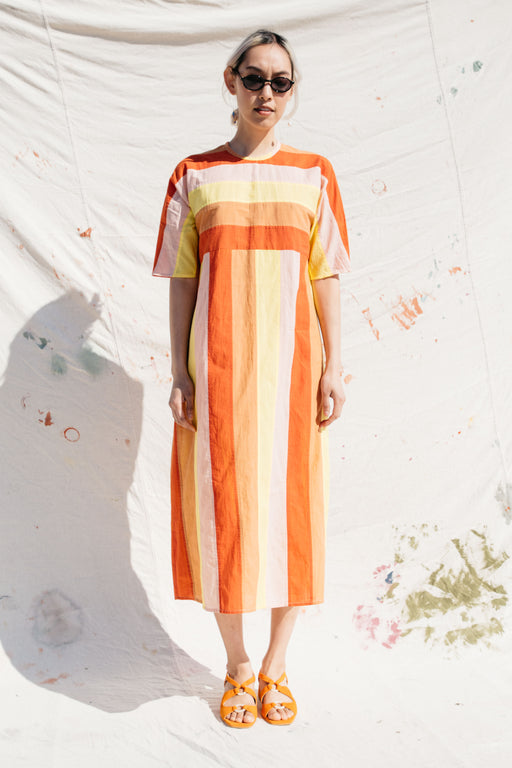 ARNO DRESS, TOMATO SUNSHINE STRIPE