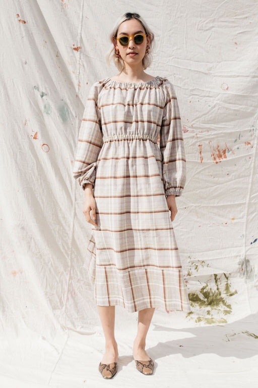 HAZEL DRESS, KHAKI SILK PLAID
