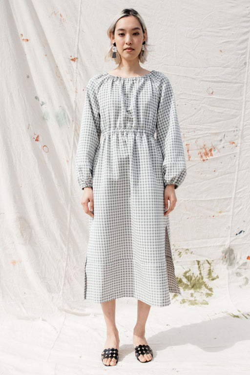 HAZEL DRESS, GRAY GINGHAM