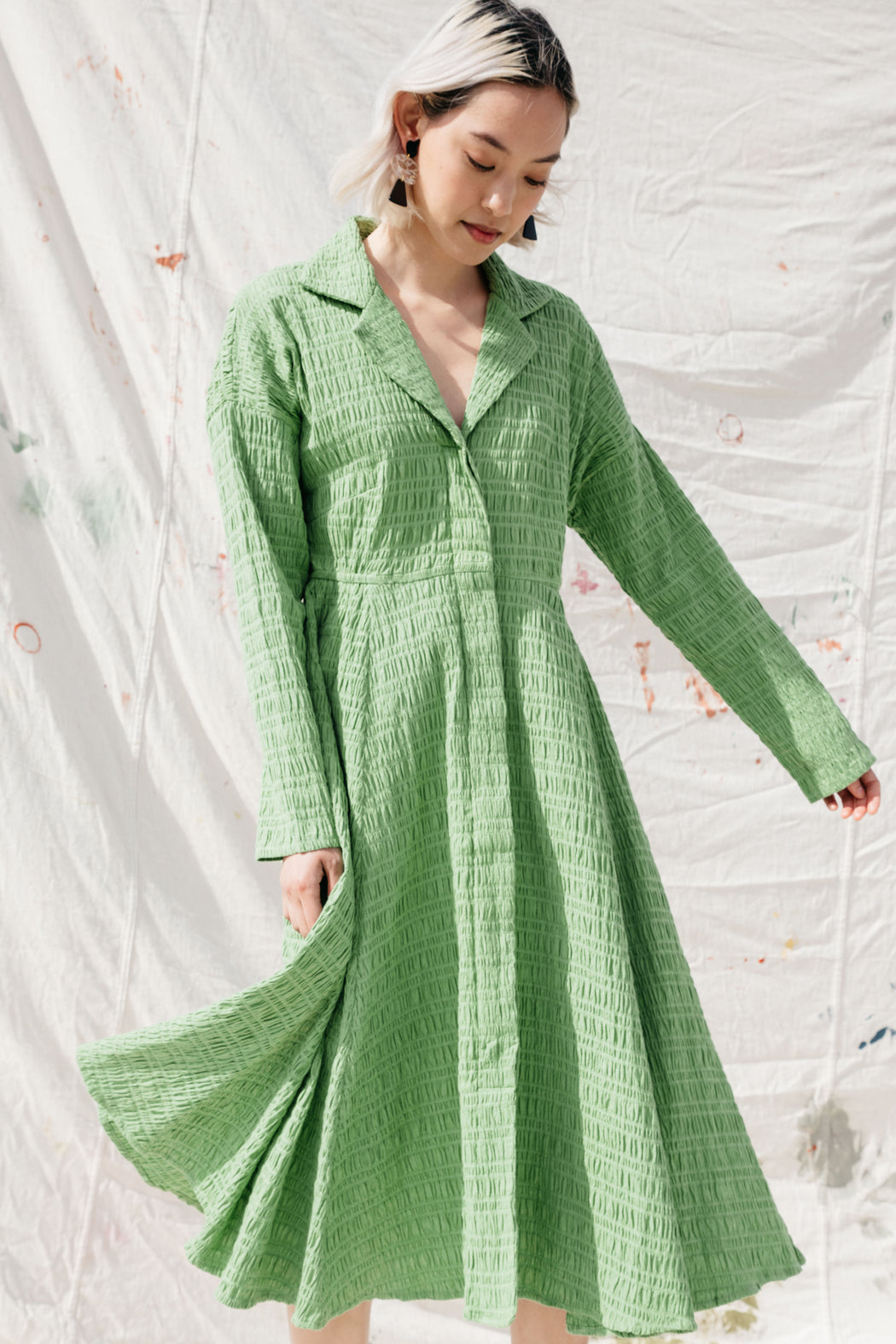 REYNOLDS DRESS - GRASSHOPPER CRINKLE