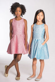Danica | Metallic blue-Dress-Sizes 7-16-Zoë Ltd