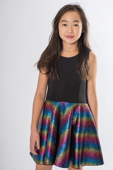 Rainbow Foil-Dress-Sizes 7-16-Zoë Ltd