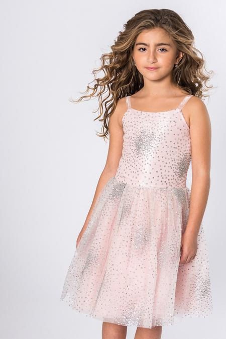 Amelia embellished dress with tulle overlay skirt and glittery details.
