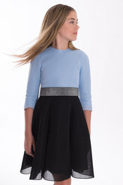 Carleigh II | Midi-DRESS-7-Blue & Black-long-modest-sleeves-sizes 7 to 18-Zoë Ltd