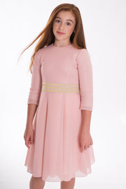 Carly | Midi-DRESS-7-Blush Pink-long-modest-sleeves-sizes 7 to 18-Zoë Ltd
