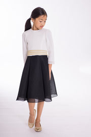 Carly | Midi-DRESS-7-Black and White-long-modest-sleeves-sizes 7 to 18-Zoë Ltd