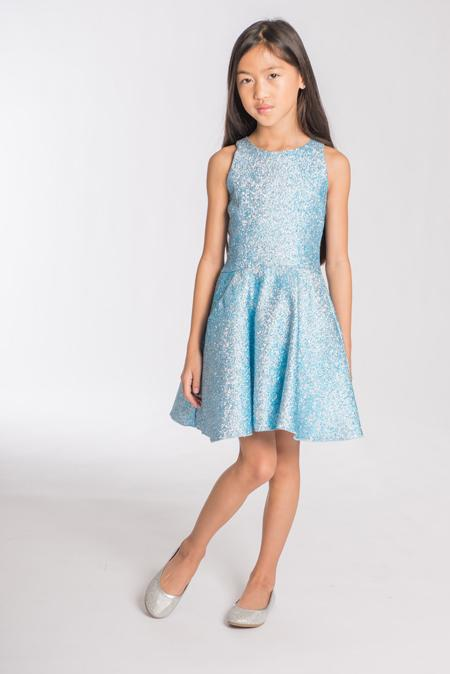 Danica | Metallic blue-DRESS-Sizes 4-16-Zoë Ltd