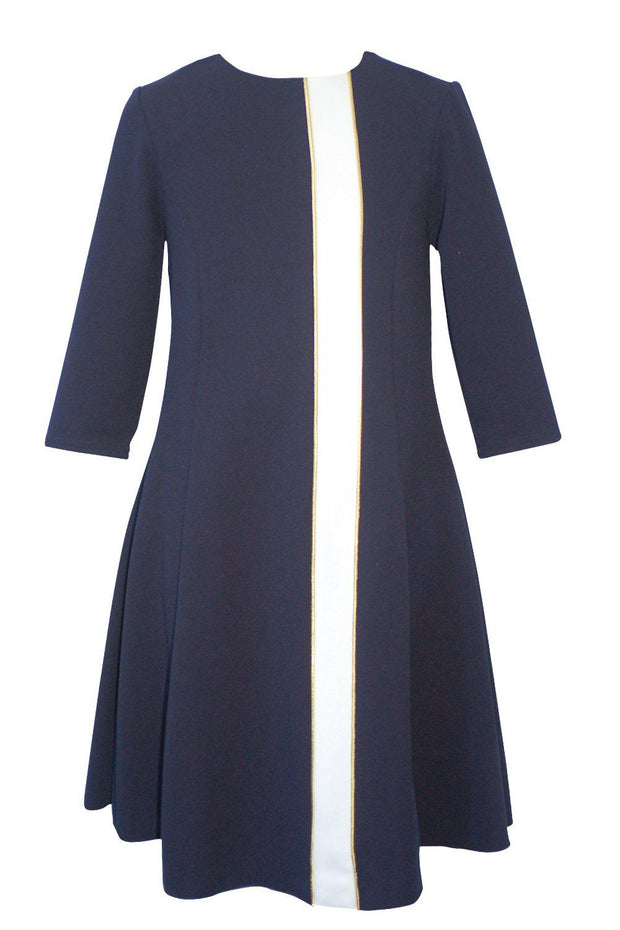 Flare | Midi-DRESS-8-Navy-long-modest-sleeves-sizes 7 to 18-Zoë Ltd