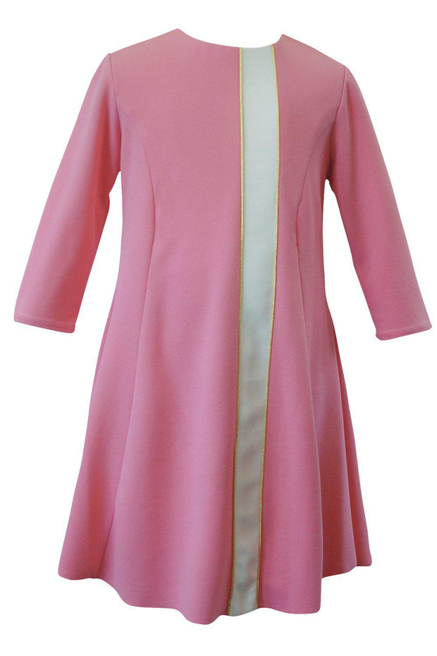 Flare | Midi-DRESS-8-Coral Pink-long-modest-sleeves-sizes 7 to 18-Zoë Ltd