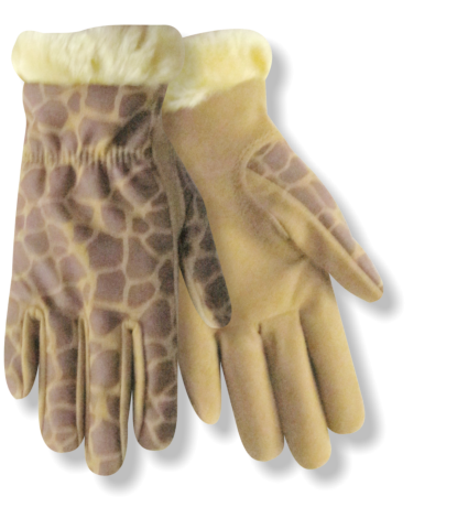 ZooHands® Youth Gloves, Giraffe Synthetic Leather Driver, Furry Hem, 2 Pair Pack