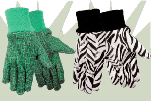 Zoohands Zebra & Alligator Print Childrens Gardening Gloves Combo Pack 4 Pair Pack