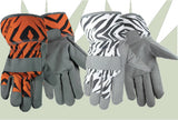 Zoohands Zebra & Tiger Print Youth Gardening Gloves, Leather Palm, 2 Pair Pack