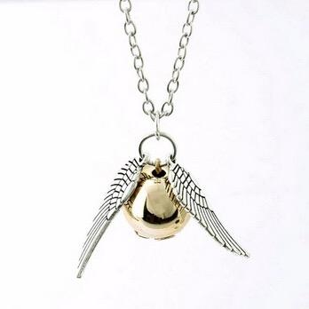 Collier Vif d'Or Harry Potter, la balle dorée du sport Quidditch ou Snitch
