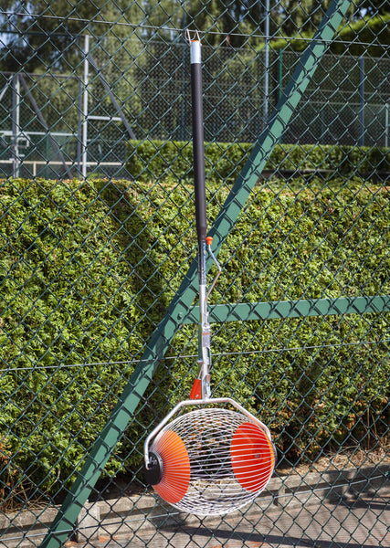Tennis ball collector hanging fence