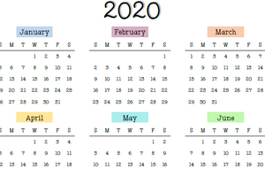2020 Yearly Calendar- Printable
