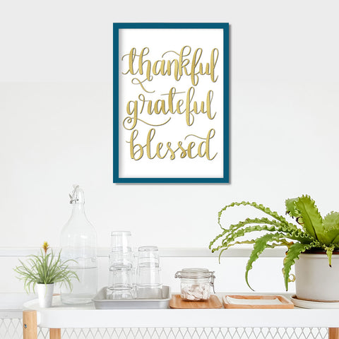 Thankful, Grateful, Blessed Glitter Print- Digital Download