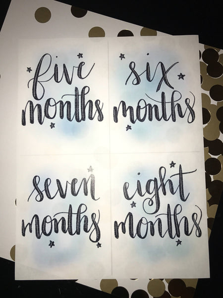 Baby Milestone Cards- Blue Watercolor, Digital Download