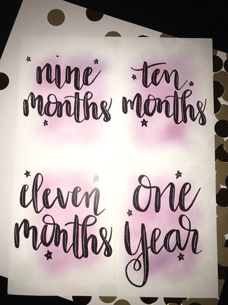 Baby Milestone Cards- Pink watercolor